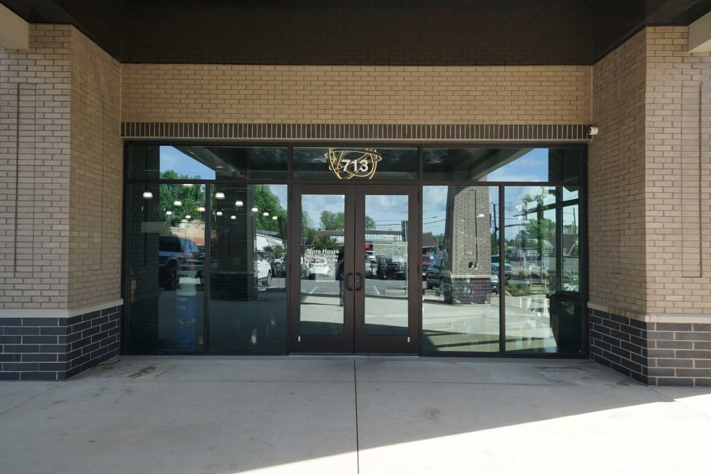 Glass Front door at Sound Station security - storefront in Smithfield NC